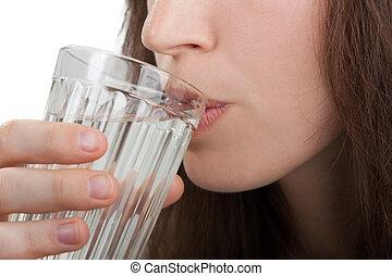 vatten, drickande, kvinnor