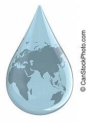 vatten droppe, med, världen kartlägger