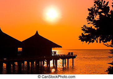 vatten, enplansvillor, solnedgång