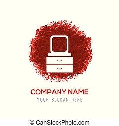 vatten färga, plaska, -, ikon, bord, påklädning, spegel, cirkel, röd