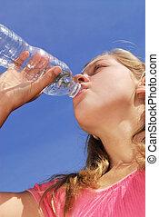 vatten, flicka, drickande