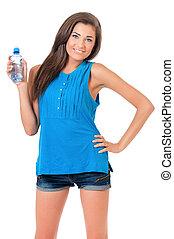 vatten, flicka, flaska