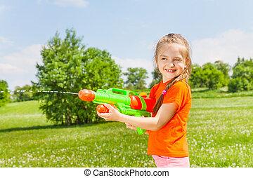 vatten, flicka, trevlig, gevär, leka
