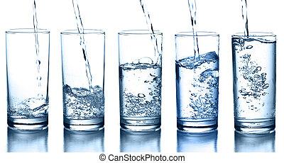 vatten, flytande, isolerat, kollektion, glas