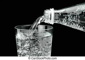 vatten, flytande, mineral, glas