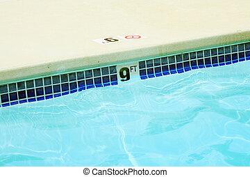 vatten, fot, nio, markör, slå samman, simning