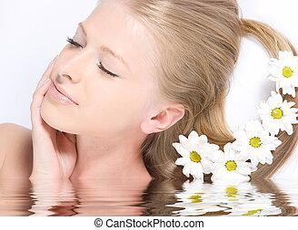 vatten, frisk, närbild, reflexion, ansikte