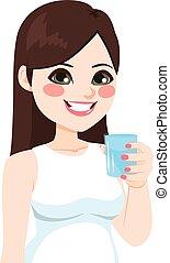 vatten glas, kvinna