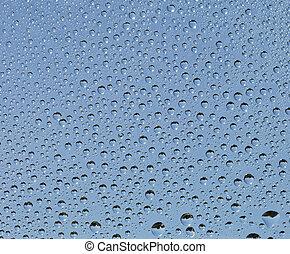 vatten glas, liten, droppar, yta