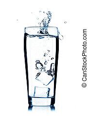 vatten glas, plaska