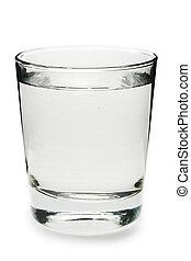 vatten glas, vit fond