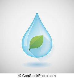 vatten gnutta, med, a, blad