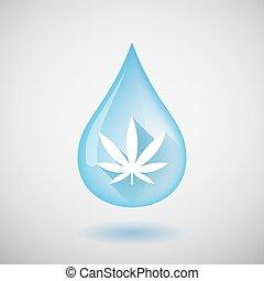 vatten gnutta, med, a, marijuana löv