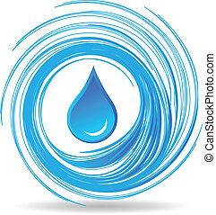 vatten gnutta, och, vågor, design