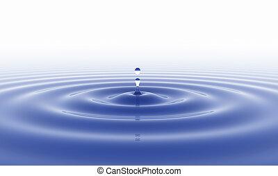 vatten gnutta, och, vit fond