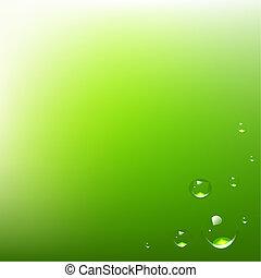vatten gnuttar, grön fond