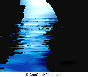 vatten, grotta