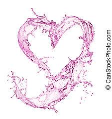 vatten, hjärta, bubblar, plaska