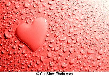 vatten, hjärta gestalta, droppar