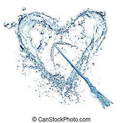 vatten, hjärta, vit, plaska, bakgrund