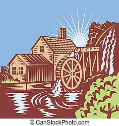 vatten hjul, kvarn, retro, hus
