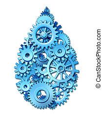 vatten, industri, symbol