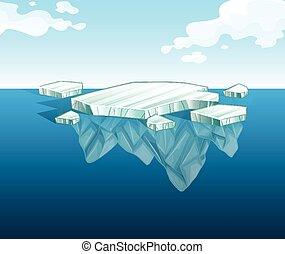vatten, isberg, tunn