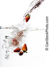 vatten, jordgubbe, plaska