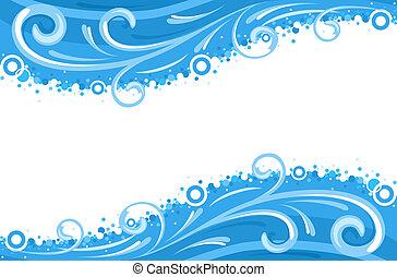 vatten, kanter, vågor