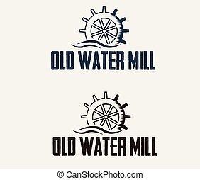 vatten, kvarn, gammal, illustration