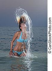 vatten, kvinna, plaska, tropisk