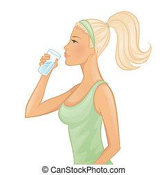 vatten, kvinna, ung, drickande