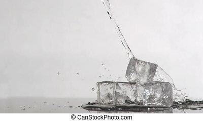 vatten, långsam, toppen, is, rörelse, kuben, stjärnfall, upp...
