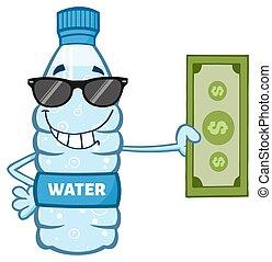 vatten, lagförslag, dollar, räcka buteljera