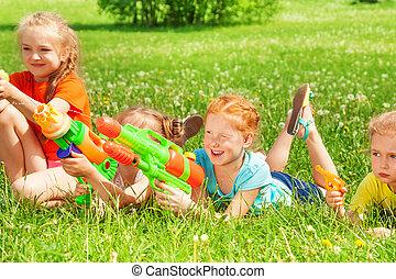 vatten, lek, barn, äng, vapen