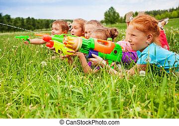 vatten, lek, lurar, fem, vapen