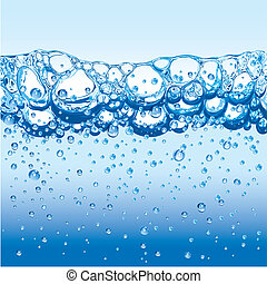 vatten, med, stickande, bubblar, och, fradga