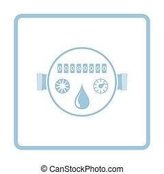 vatten, meter, ikon
