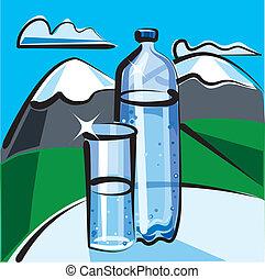 vatten, mineral