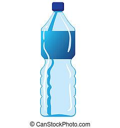 vatten, mineral, flaska