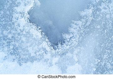 vatten, närbild, ice-bound, yta