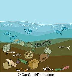 vatten, ocean., avskräde, pollution, waste.