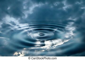 vatten, och, sky