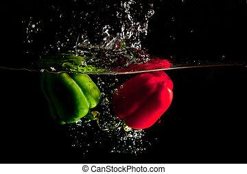 vatten, peppar, plaska, grön röd