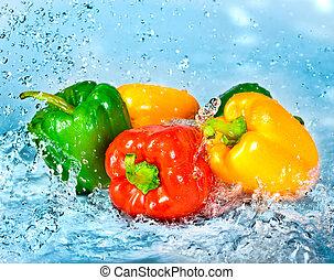 vatten, peppar