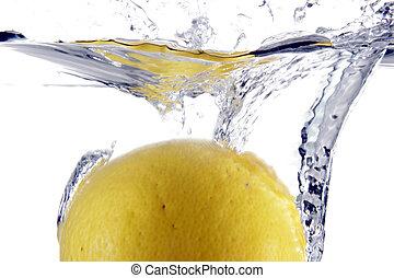 vatten, plaska, citron