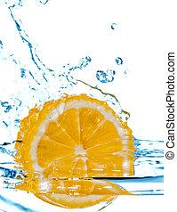 vatten, plaska, citron, falla