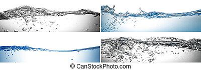 vatten, plaska, collage, in, vit fond
