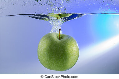 vatten, plaska, droppe, grönt äpple