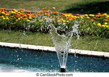 vatten, plaska, fontän trädgård